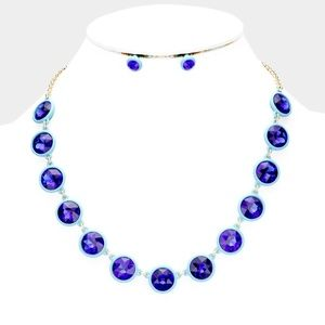 Blue Berry Crystal Resin Trim Necklace